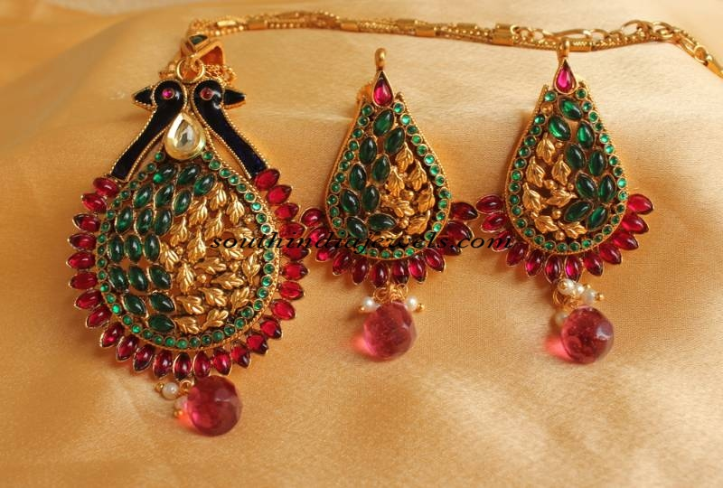 22K Gold Pendant studded with rubies and emeralds