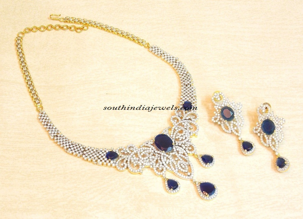 Artificial american diamond necklace set
