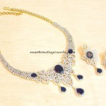 Artificial American Diamond and Sapphire stone necklace set