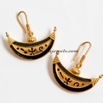 Designer boat shaped gold earrings