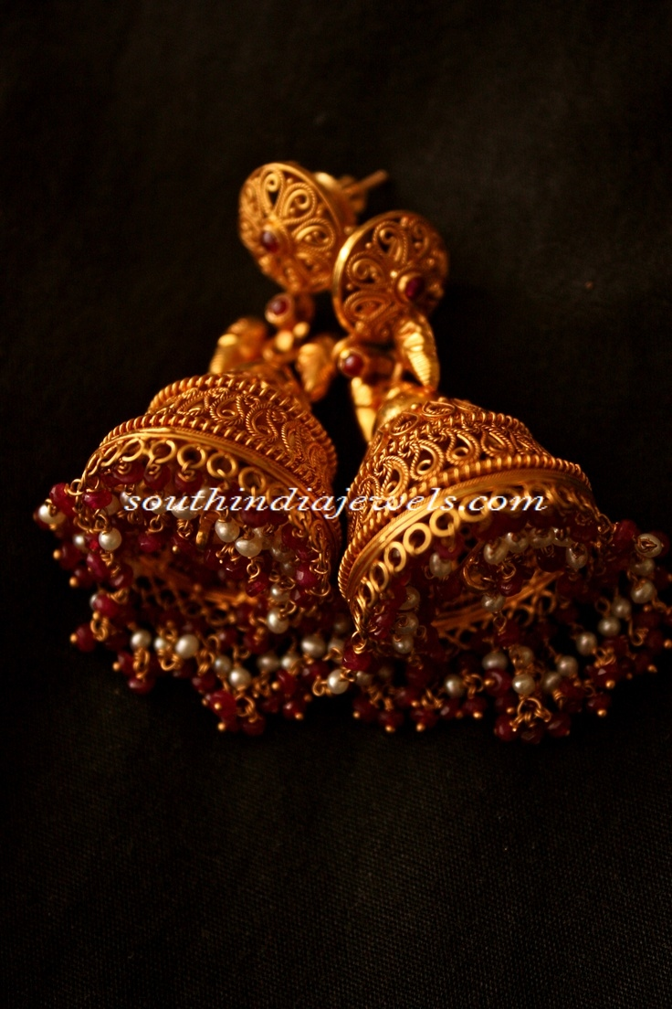 Gold Jhumka Designs ~ South India Jewels