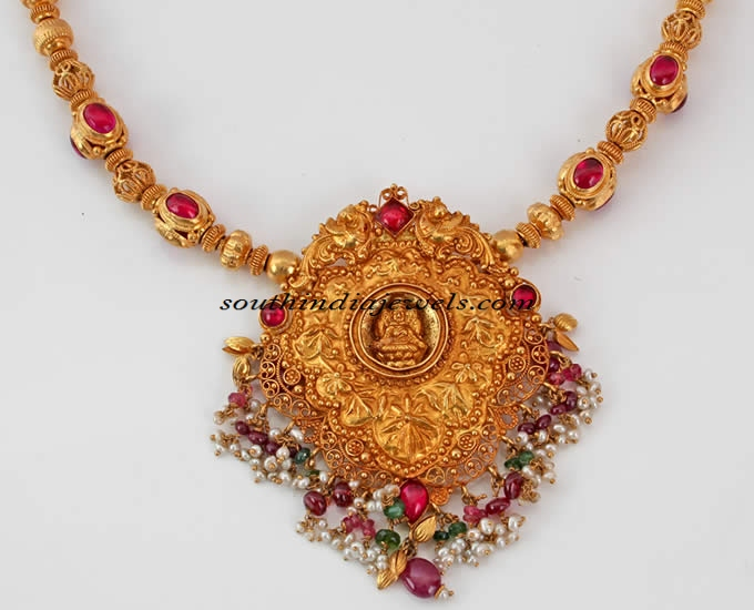 Temple jewellery necklace with lakshmi pendant south india jewels temple jewellery lakshmi pendant aloadofball Choice Image