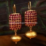 Gold Ruby Hoop Earrings