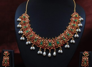 Imitation Jewellery Ruby Emerald Pearl Necklace