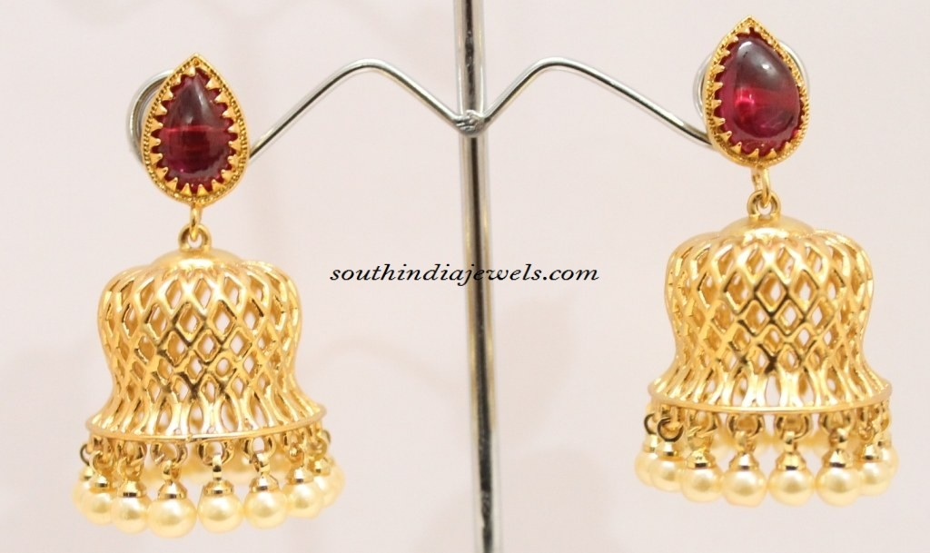 Kemp Jhumka with pearls
