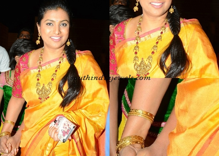 Actress Roja In Temple Jewellery South India Jewels