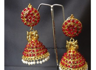 Temple Jhumka design with red kemp stones