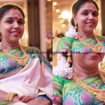 Cream Colored Saree and pretty pearl Kasumalai