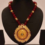 Artificial Jewellery : Red beaded chain with pendant
