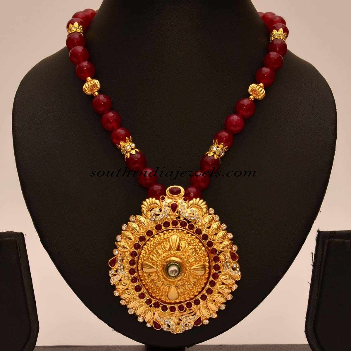 Artificial jewellery red beaded chain with pendant south india artificial jewellery pendants aloadofball Gallery