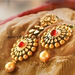 Polki diamond earrings with south sea pearls