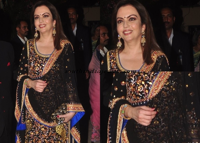 Nita Ambani wearing gold diamond jewellery