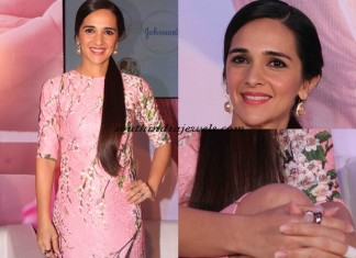 Tara Sharma wearing fashion Jewellery