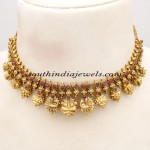 Elegant Temple Jewellery necklace studded with rubies