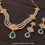 American Diamond Floral Emerald Necklace
