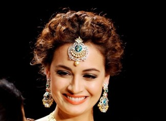 Dia mirza wearing diamond jewelleries