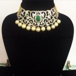 Diamond Choker with emeralds and southsea pearls