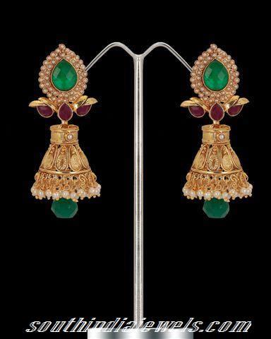 Gold Emerald pearl jhumka
