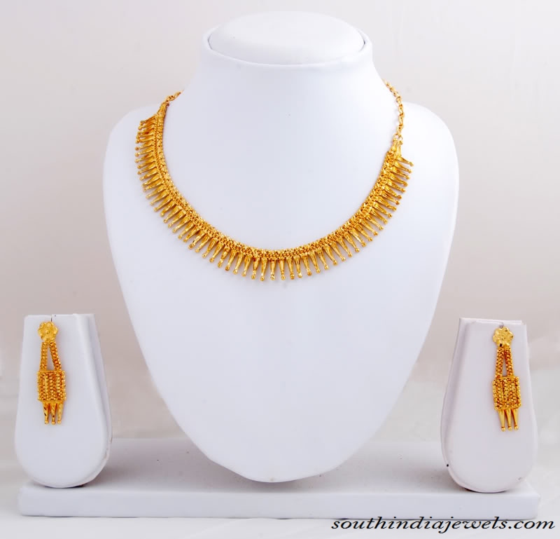 Gold Necklace set with earrings