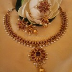 Red Imitation jewellery necklace set with price