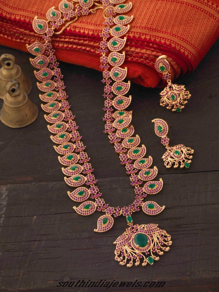 imitation ruby emerald haram set