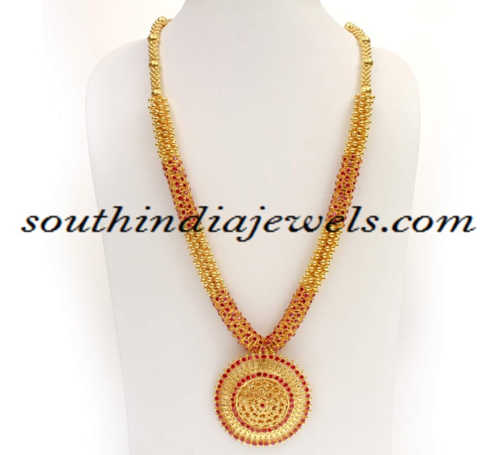 Kerala gold haram necklace design with price