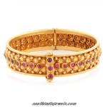 Latest ruby studded gold bangle design