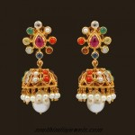 18k Gold Navarathna jhumka earrings by VBJ