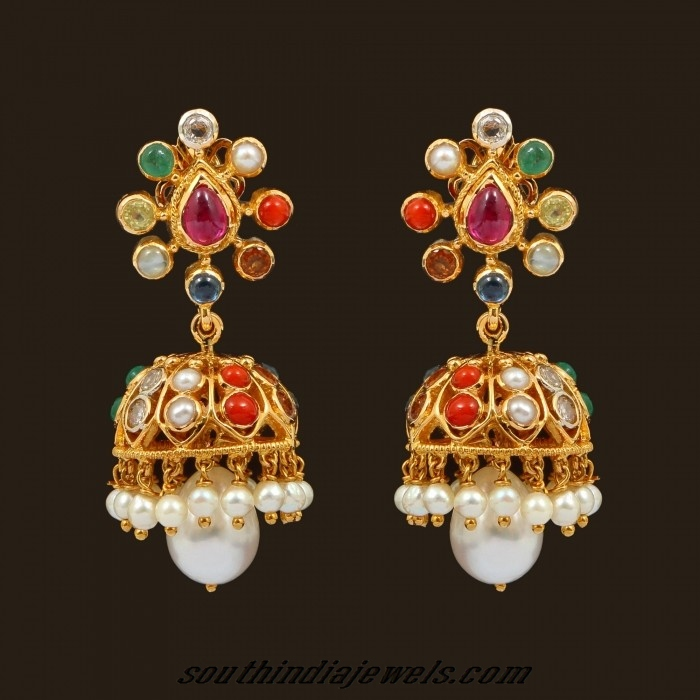 Navarathna jhumka earrings