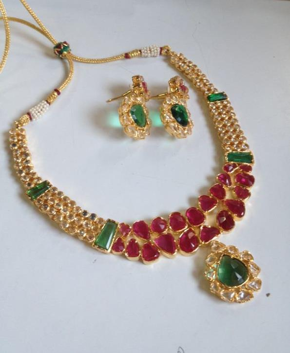 Red Green Stone Necklace South India Jewels