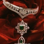 Diamond emerald choker necklace from Tanishq