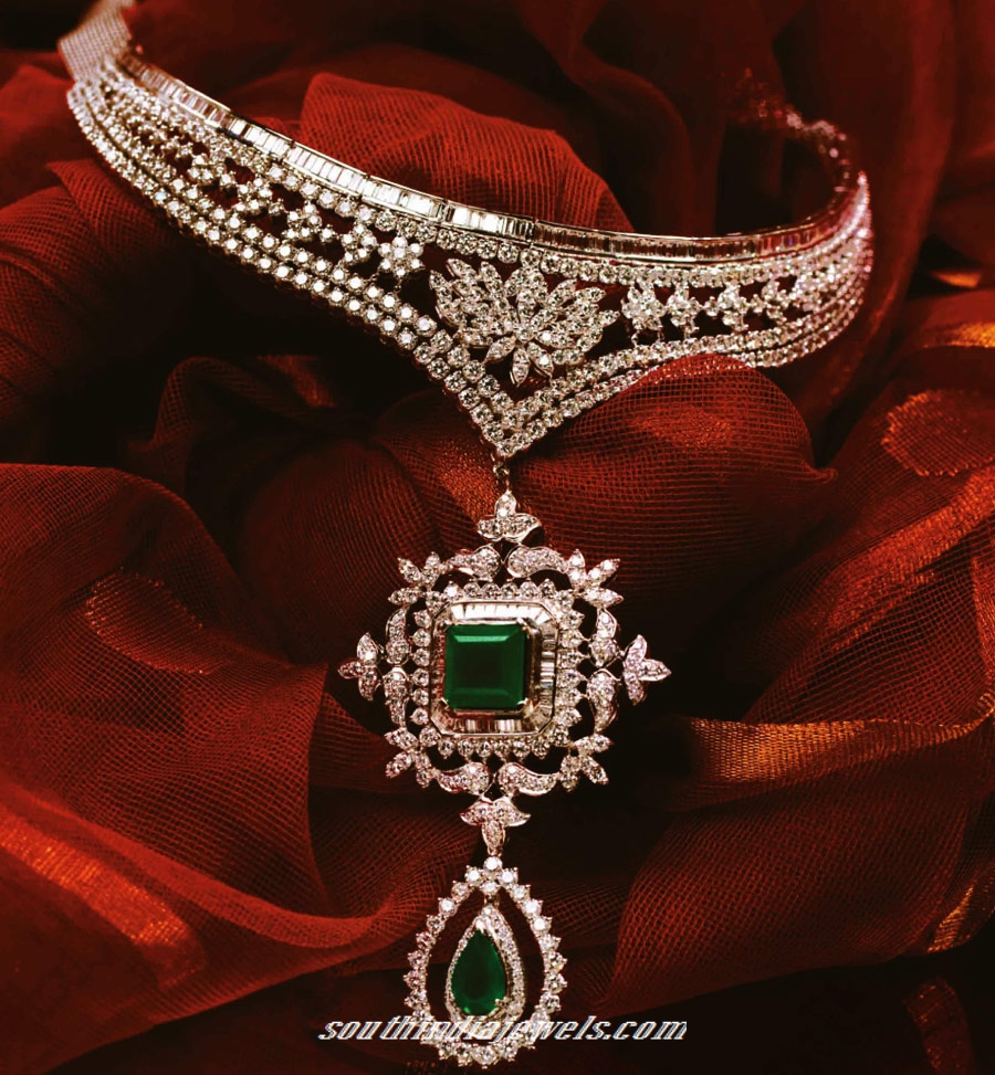 Tanishq diamond emerald choker necklace