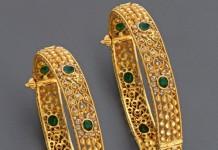 Gold emerald bangles