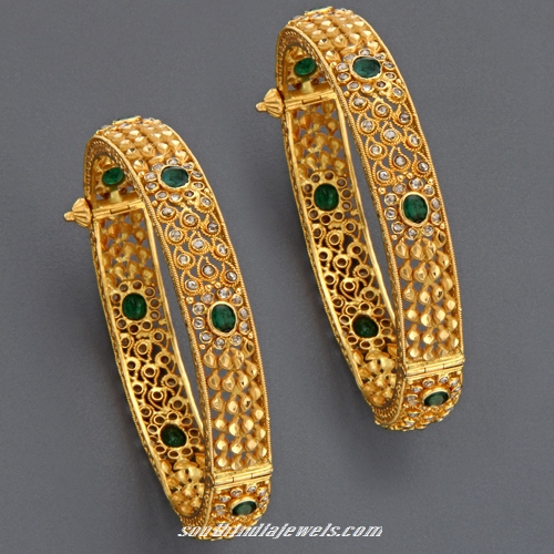 diamond two emerald detail tone buy design bangles gold product newest