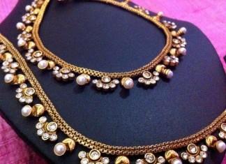 Pearl polki anklet design