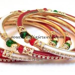 Two color zircon stud bangles