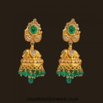Uncut diamond and emerald studded jhumka