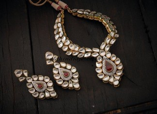 white polki necklace set