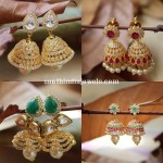 Latest American Diamond Stone Jhumkas