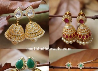 Anmerican diamonds stone jhumkas