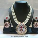 Pearl Mala with American Diamonds
