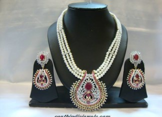 American Diamond Nekclace with pearl mala