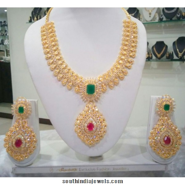 Artificial bridal american diamond necklace set