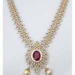 Diamond Necklace with ruby and pearls