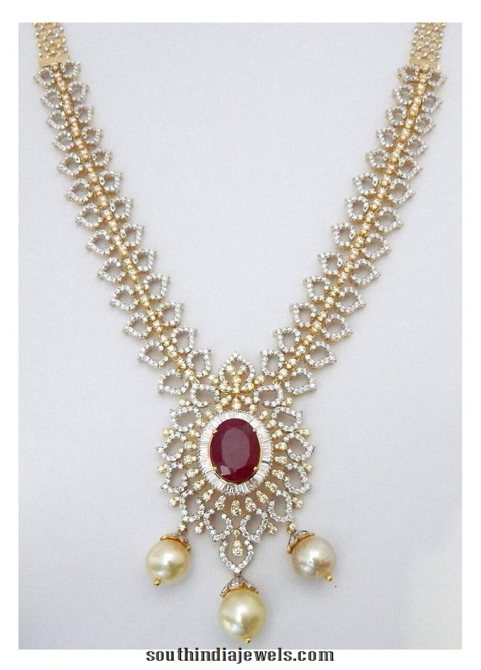 Diamond Necklace with Rubies and Pearls