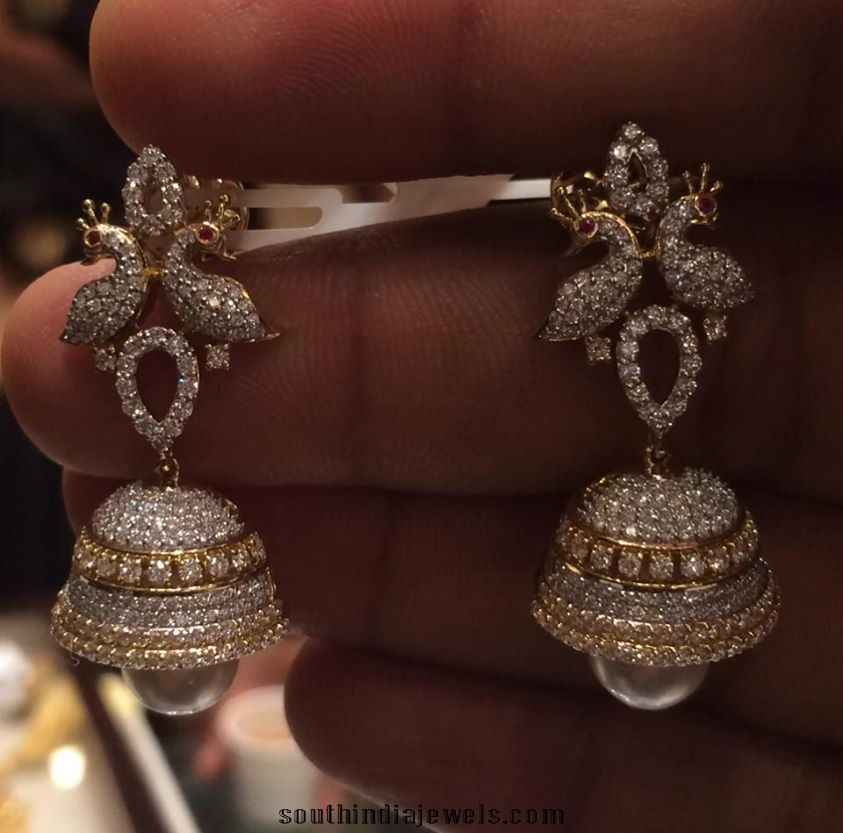 Diamond Peacock Peral Jhumkas