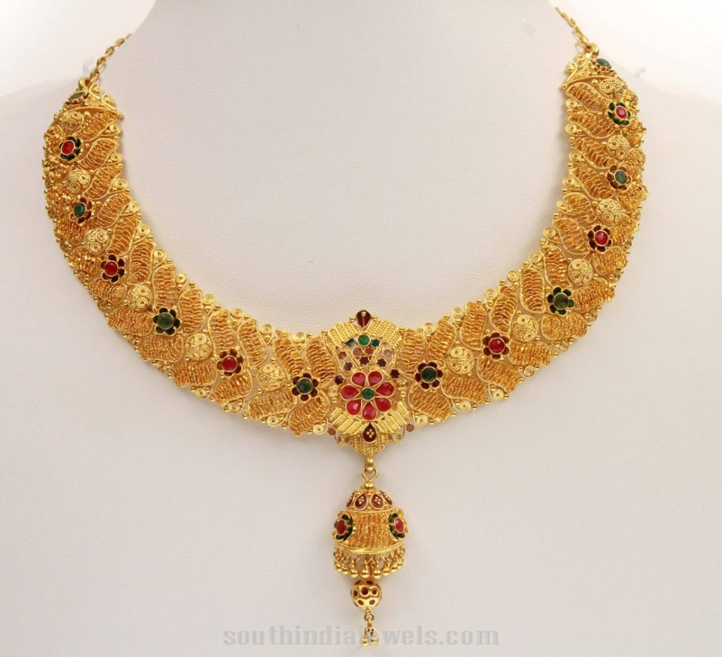 Gold Floral Necklace From Kerala Jewellers