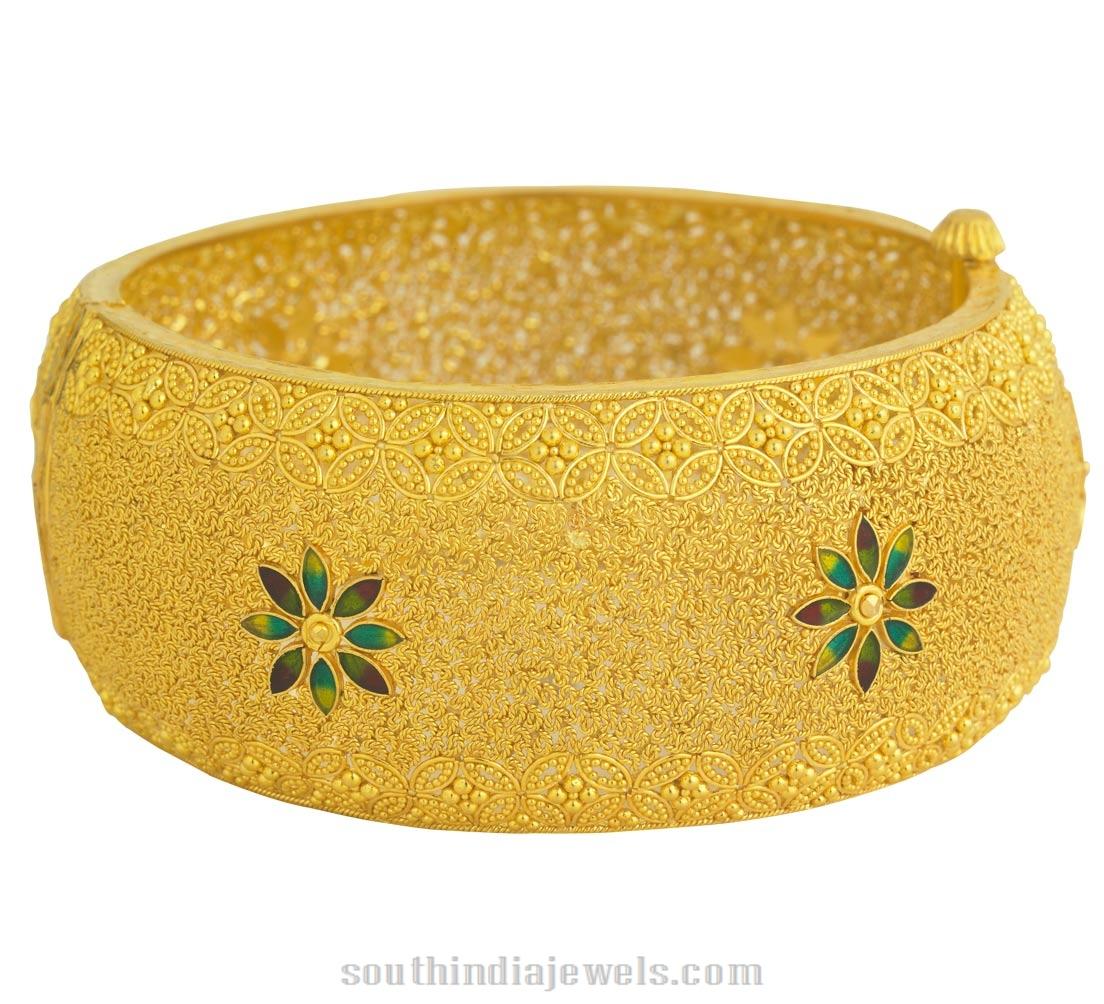 Gold Kerala Style Bangle with Enamel Work ~ South India Jewels