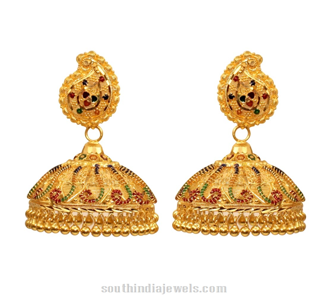 Kerala Style Gold Jhumka South India Jewels