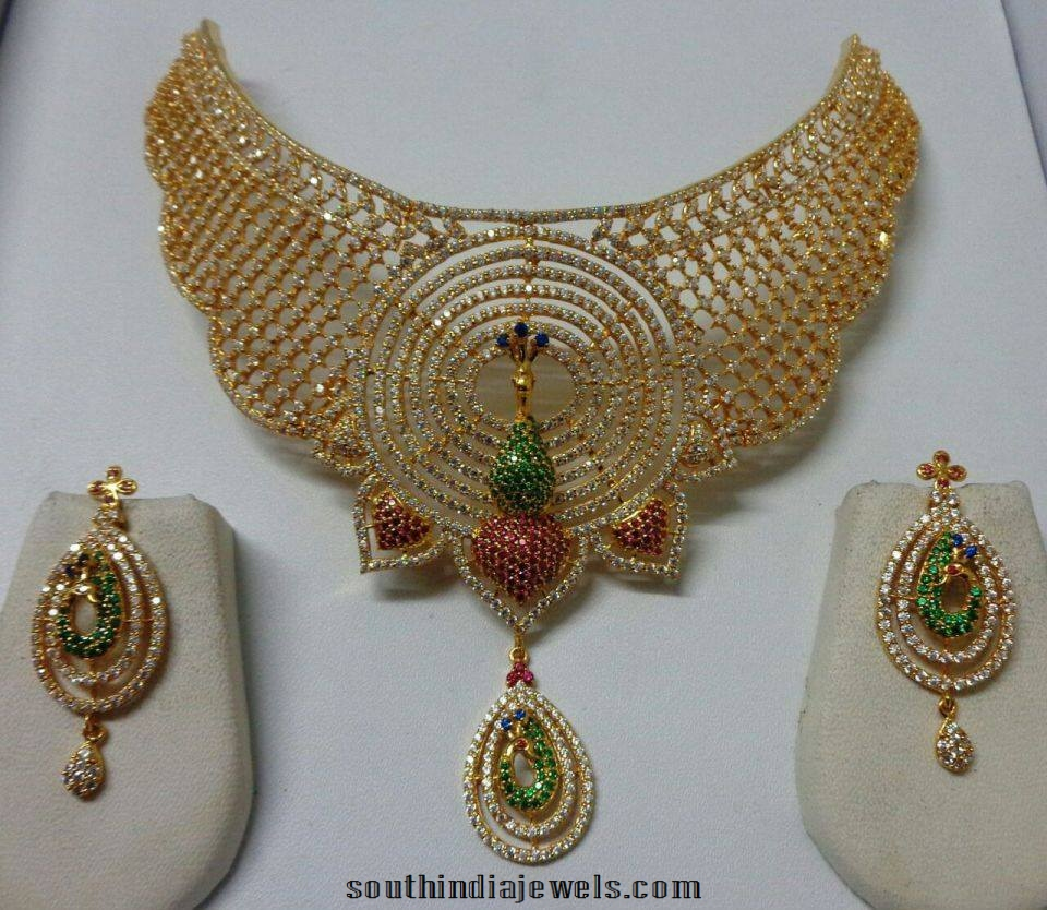 Huge Bridal Diamond Choker set with peacock diamond earrings